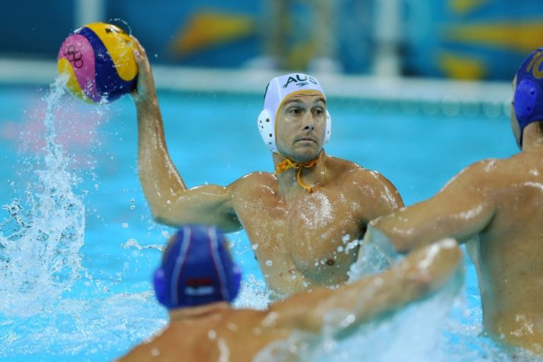 Olympian Thomas Whalan in action as part of the Aussie Men's Water Polo team